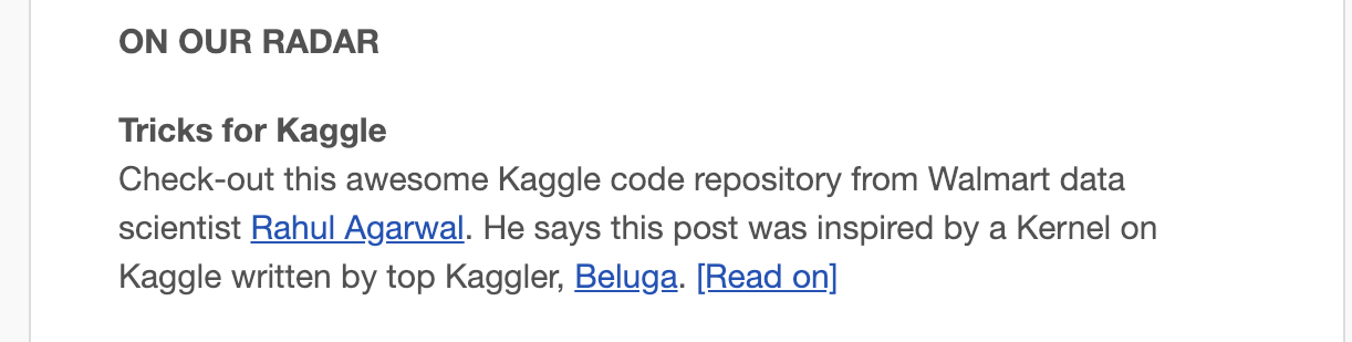 Featured in Kaggle Newsletter