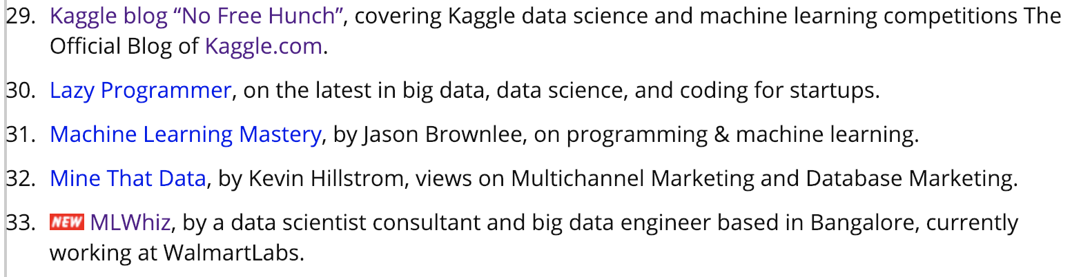 Featured in KDNuggets Active Blog list