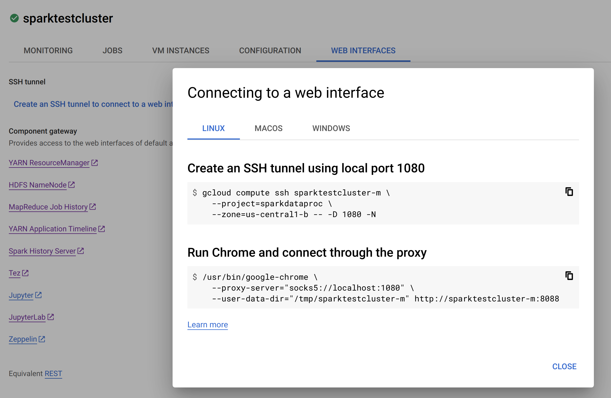 Spark Test Cluster Web Interface using SSH
